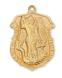 St. Michael Gold on Sterling Silver Badge 24""