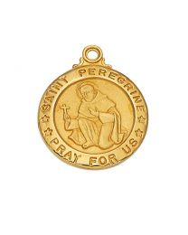 "St. Peregrine Gold on Sterling Silver Medal on 20"" Chain"