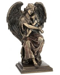 "8.27"" Guardian Angel with Girl - Bronze Style Statue"