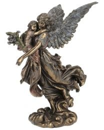 "10.6"" Guardian Angel with Child - Bronze Style Statue"