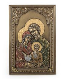 "9"" Iconic Holy Family - Bronze Style Plaque"