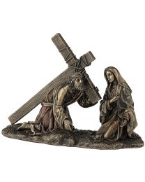 "7.68"" Jesus on the Way to Calvary - Bronze Style Statue"