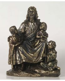"7.1"" Jesus with Children - Bronze Style Statue"