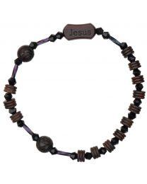 Jujube Wood & Crystals Rosary Bracelet