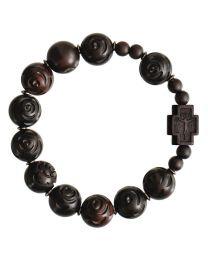 Jujube Wood Rose Cut Rosary Bracelet