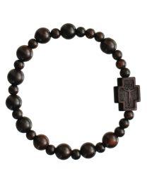 Jujube Wood Round Rosary Bracelet