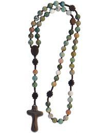 Jujube Wood & Genuine Multicolor Onyx Rosary