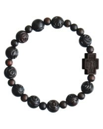 Jujube Carved Wood Rose Rosary Bracelet
