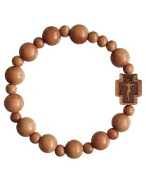 Light Jujube Wood Round Rosary Bracelet