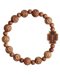 Light Carved Jujube Wood Rose Rosary Bracelet