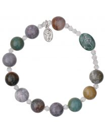 Genuine Multicolor Onyx Rosary Bracelet