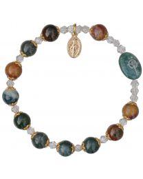 Genuine Multicolor Onyx Rosary Bracelet