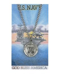 Navy Prayer Card with Medal