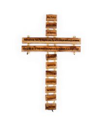 Olive Wood Our Father Prayer Cross