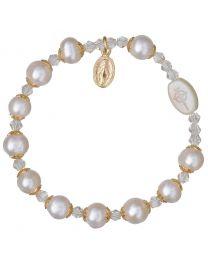 Genuine Pearl & Crystal Rosary Bracelet