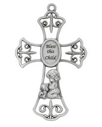 "6"" Bless this Child Pewter Cross - Girl"