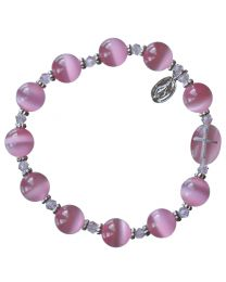 Genuine Pink Cat's Eye Rosary Bracelet