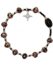 Plum Murano Glass Rosary Bracelet