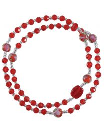 Genuine Red Crystal Twist Rosary Bracelet