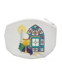 White First Communion Rosary Pouch