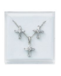Silver/Crystal Cross Earrings Set