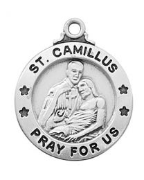 "St. Camillus Sterling Silver Medal on 20"" Chain"