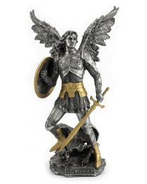 "13"" St. Michael - Pewter & Gold Statue"
