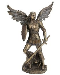 "9"" St. Michael with Shield - Bronze Style Statue"