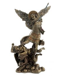"13.3"" St. Michael with Flowers - Bronze Style Statue"