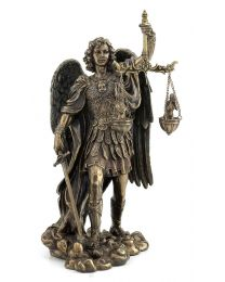 "11"" St. Michael Weighing Souls - Bronze Style Statue"