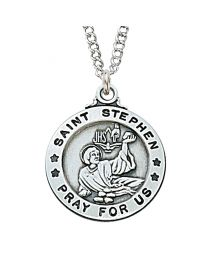 "St. Stephen Sterling Silver Medal on 20"" Chain"