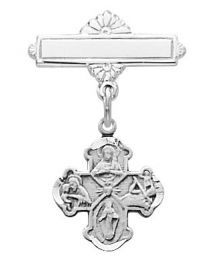 Sterling Silver 4-Way Cross Baby Pin