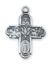 "4-Way Sterling Silver Cross on 18"" Chain"