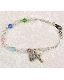 Sterling Silver Tincut Multicolor Crystal Bracelet