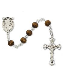 Sterling Silver 6mm Rosary Wood Brown