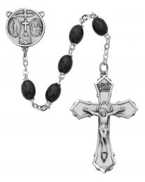 Sterling Silver Black Wood Rosary