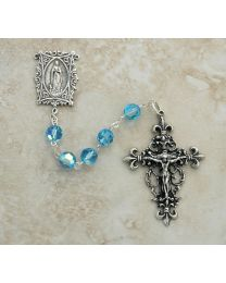 Sterling Silver Aqua Crystal Our Lady of Lourdes Rosary