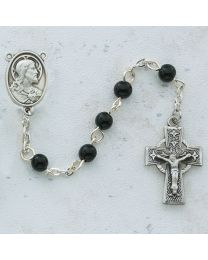 Sterling Silver Black Celtic First Communion 5mm Rosary