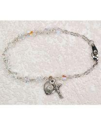 Sterling Silver Bracelet Crystal Miraculous Medal