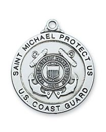 "Coast Guard Sterling Silver Medal on 24"" Chain"
