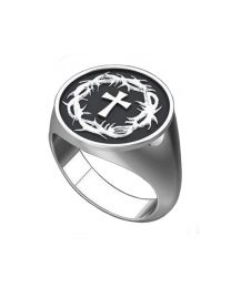 Sterling Silver Crown of Thornes & Cross Men's Ring