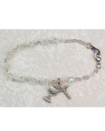 Sterling Silver Crystal First Communion Bracelet