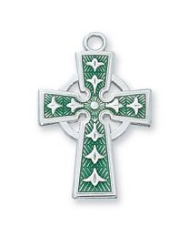 "Sterling Silver Green Celtic Cross on 18"" Chain"