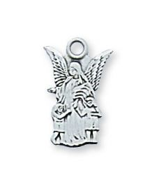 "Guardian Angel Sterling Silver Medal on 16"" Chain"