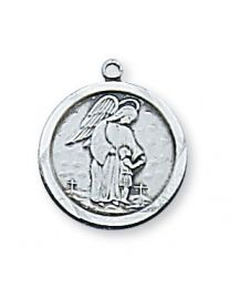 "Guardian Angel Sterling Silver Medal on 18"" Chain"