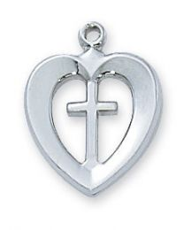 "Sterling Silver Heart with Cross  on 18"" Chain"