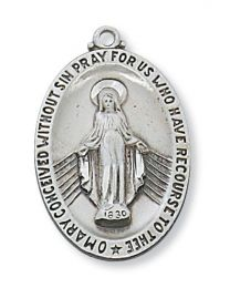 """Sterling Silver Miraculous Medal on 24"""" Chain"""