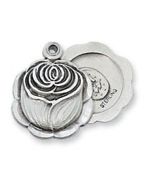 """Sterling Silver Rose Miraculous Medal on 18"""" Chain"""