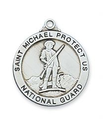"National Guard Sterling Silver Medal on 24"" Chain"
