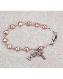 Sterling Silver Pink Heart First Communion Bracelet